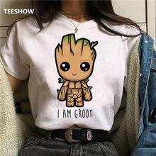 Новинка 2020, футболка, милые топы с принтом Bady Groot, повседневная женская футболка, забавная модная футболка с мультипликационным принтом, Фут...