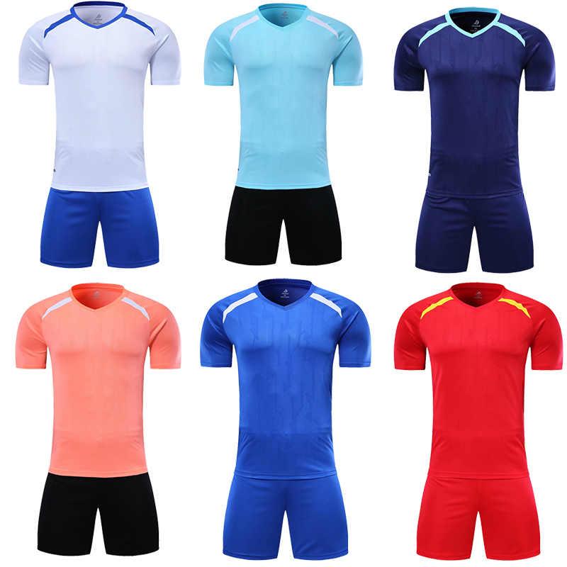남자 짧은 소매 빨간 축구 유니폼 세트 오렌지 축구 유니폼 네이비 블루 키즈 축구 셔츠 diy 이름 oem 번호