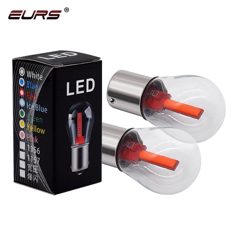 EURS 1PCS 1156 BA15S 1157 BAY15D Car LED Filament Light COB Bulbs Turn Signal Tail Parking Reverse Lamp 9-30V White Red Yellow
