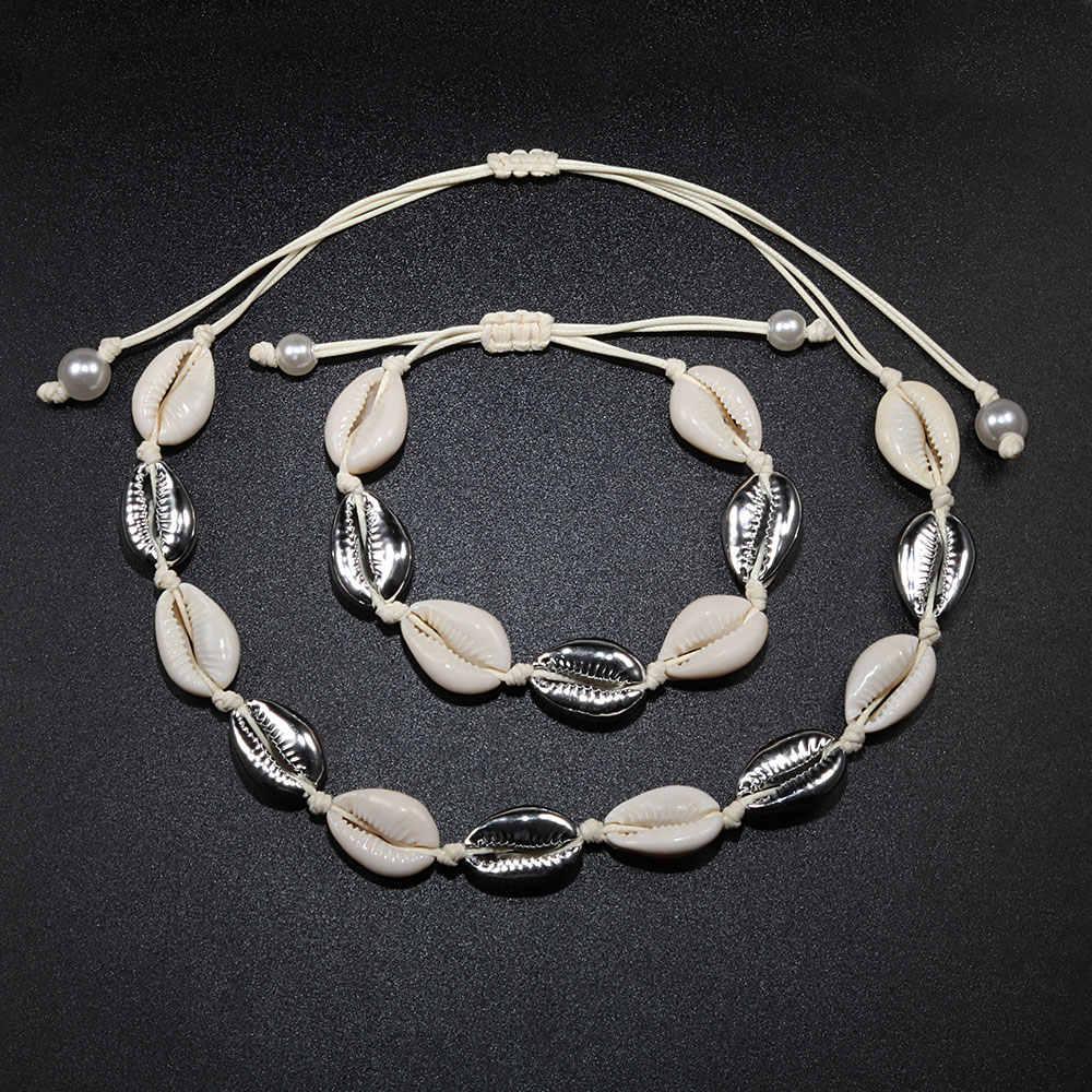 Shell Kalung & Gelang Bohemia Alam Emas Kerang Cowrie Pesona Kalung untuk Wanita Kalung Tali Rantai Gelang Musim Panas Perhiasan