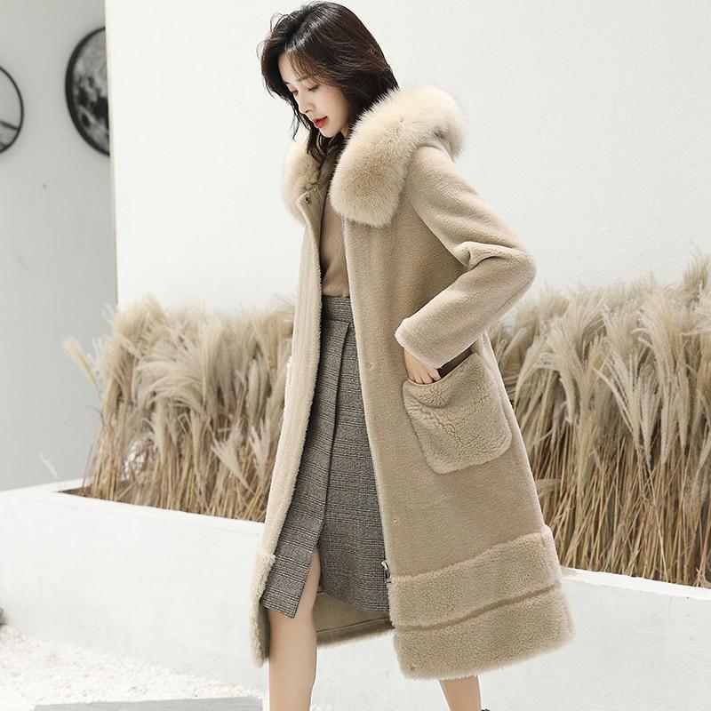 Fur Wool Real Coat Female Fox Fur Collar Sheep Shearling Fur Jackets Winter Jacket Women Korean Outwear Suede Lining MY