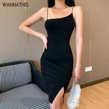WannaThis Sexy Spaghetti Strap Backless Mini Dresses Split Hem Elastic Slim Sleeveless Casual Cotton Dresses Solid Color 2020