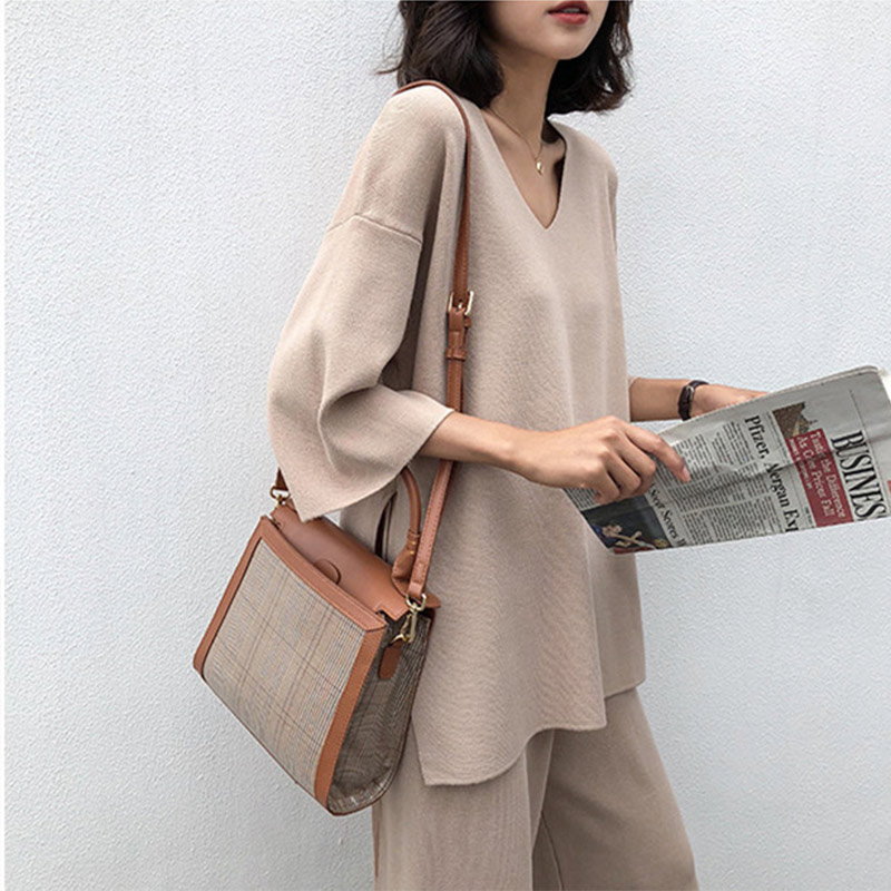 Women Knitting Sweater Pant Suit 2 Piece Set Apricot Knitted Pullover V-neck Long Sleeve Bandage Top Wide Leg Pants Suit 4XL