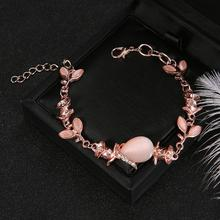 Bracelet Women 2020 Hot New Fashion Adjustable Crystal Double Heart Bow Cuff Opening Jewelry Gift