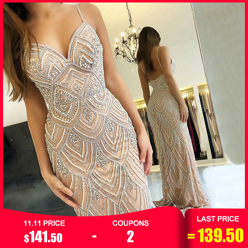 Dubai novo luxo sexy sem mangas vestidos de noite sereia diamante beading sereia vestidos de noite 2019 la6628