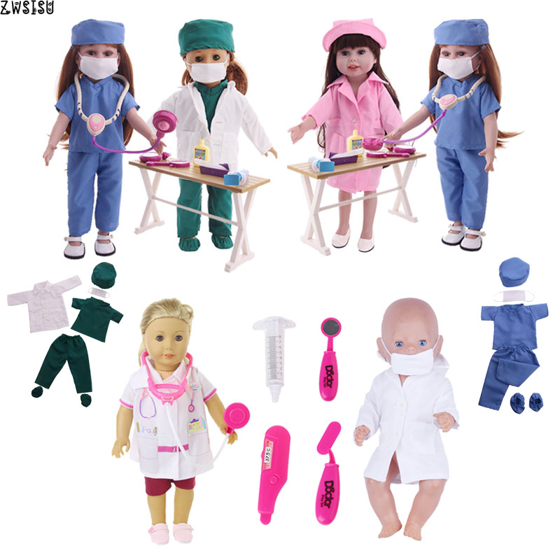 Doll Clothes Accessories Doctor Nurse Uniform Clothes+Toys Medical Equipments Fit 18 Inch American Doll & 43 Cm Baby Doll Girl