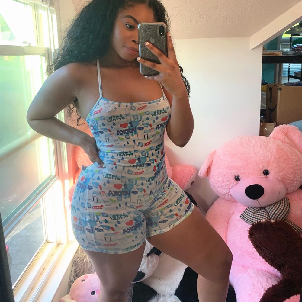 Sleeveless Sexy Pajamas Onesie For Adults Women Print Onsie Shorts Jumpsuit Sleepwear Pajama Bodysuit Romper Leotard For Summer