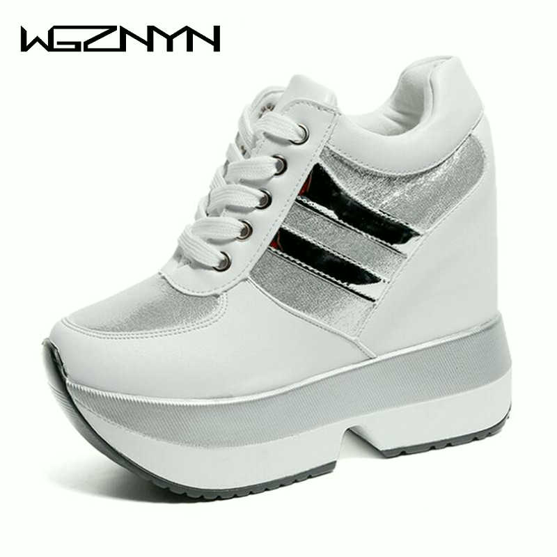 WGZNYN Platform Women Shoes Height Increasing Wedges Platform Heels Shoes Sneakers Women Casual Shoes Woman Chaussure Femme W605