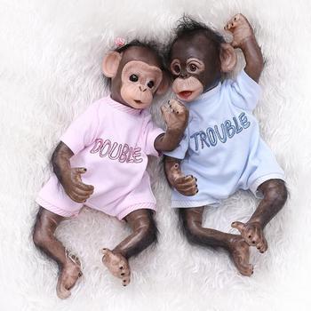 40CM Handmade Detailed Paint Reborn Baby Monkey Newborn Baby Collectible Art High Quality