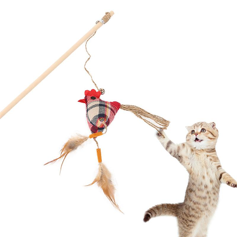 1PC Teaser Feather Toys Kitten Funny Colorful Rod Cat Wand Toys Plastic Pet Cat Toys Interactive Stick Pet Cat Supplies