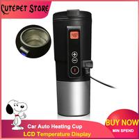 410ML Portable Intelligent Car Auto Heating Cup Adjustable Temperature Car Boiling Mug Digital Display Kettle Vehicle Thermos|Vacuum Flasks & Thermoses| |  -