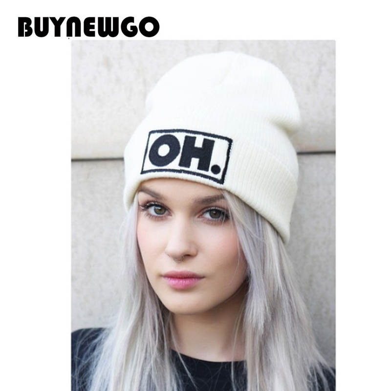Knit Hat Ski-Caps-Caps Embroidered Women Winter New And American Letters OH Popular European