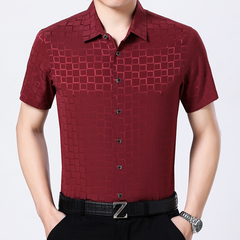 Summer Real Silk Men Red Short Sleeve Shirt Casual Mens Shirts High Quality Social Korean Camisa Masculina G2226 KJ1950