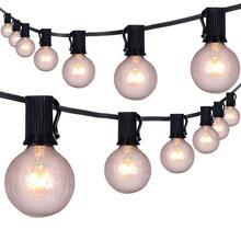 50 יח\חבילה 25Ft G40 גלוב מחרוזת אורות עם נורות UL ברשימה עבור עבור מסיבת גן בחצר האחורית סיפון חצר פרגולה