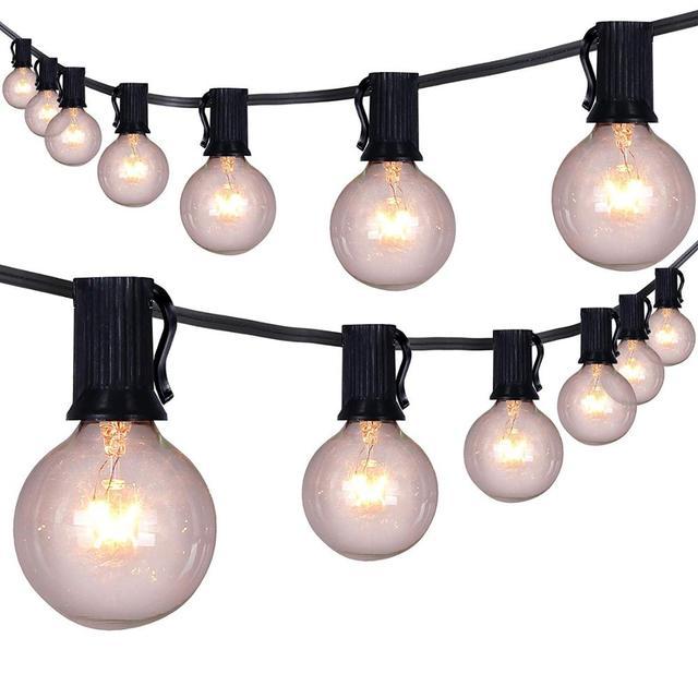 50 unids/lote 25 ft G40 luces de cadena de globo con bombillas UL listadas para fiesta boda jardín patio pérgola