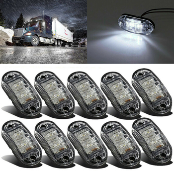 10 Pcs 10V-30V 2.5 Inch White LED Lamp 2 Diode Oval Clearance Trailer Truck Side Marker Light For SUV Truck Lorry RV Bus Boat