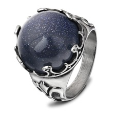 2019 The New Fashion Wind Unique Personality High-End Design Shiny Blue Color Sandstone Ring Stainless Steel Jewelry Size 7-12