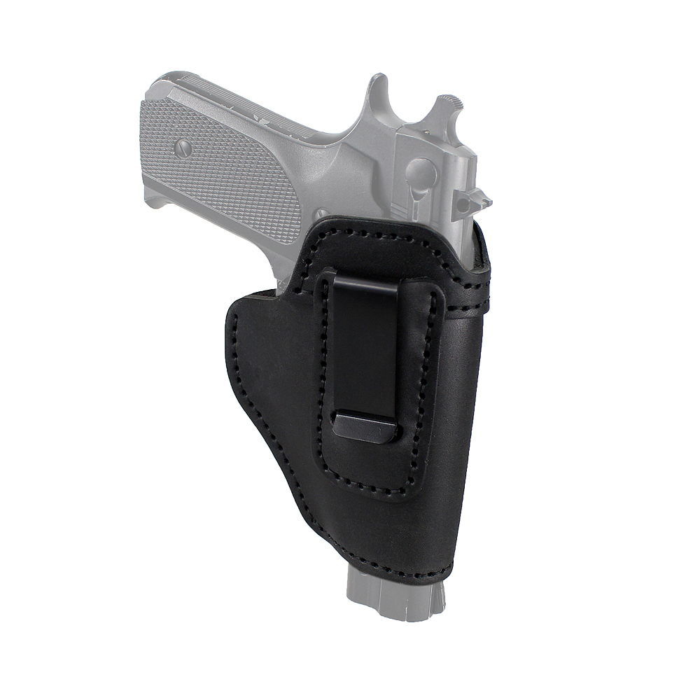 Right Hand <font><b>Gun</b></font> Holster IWB Holster Leather Concealed with Clip for S&W M&P Shield <font><b>9mm</b></font> <font><b>Glock</b></font> 17 19 or All Similar Sized Handguns image