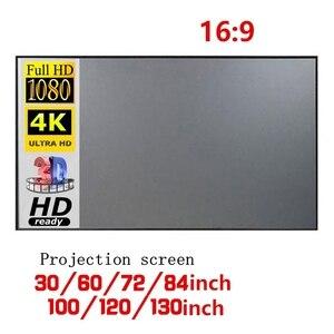 Tela do projetor portátil 16:9 60/72/84/100/120 Polegada tela do projetor lona para escritório em casa escola teatro suprimentos ao ar livre