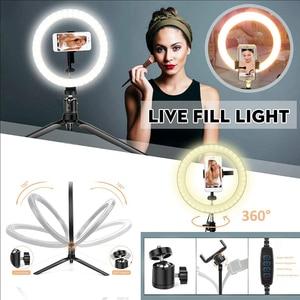 Image 4 - 6/8/10 Inch Ring Light con supporto treppiede LED Circle Lights supporto per telefono per fotocamera Selfie fotografia trucco Video illuminazione dal vivo