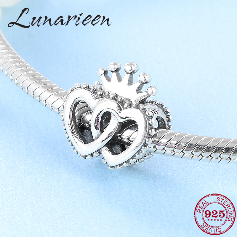 Hot 925 Sterling Silver Exquisite Crown Heart Shaped DIY Accessories Beads Fit Original Pandora Charm Bracelet Jewelry making(China)
