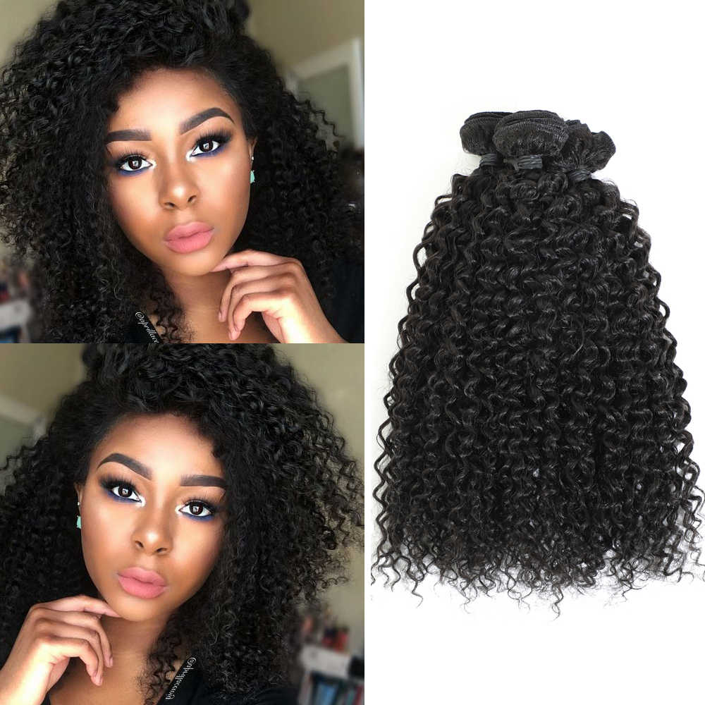 "Afro Kinky Jerry Hair Extensions Natural Black Synthetic Curly Hair Weaves 8 Pieces All In One Pack For Full Head 14"" 16"" 240g"
