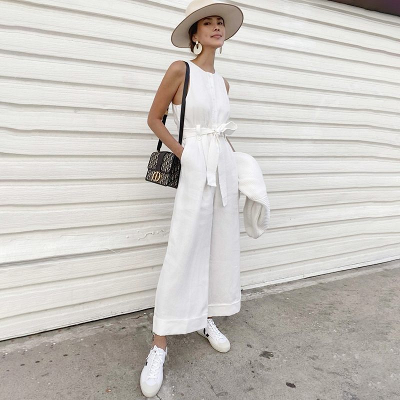 Dabourfeel Buttons Straight Wide-Leg Jumpsuits Women Sash Belt Sleeveless Solid Jumpsuit Romper Female Overalls Casual 2020