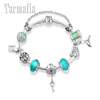 Silver 925 Charms Bracelets for Women with Green Murano Glass Beads Accessories heart key Charms Fashion Bracelet S925 Jewelry
