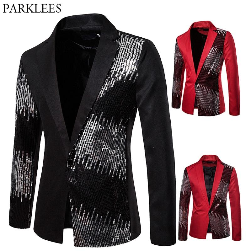 Men's Splice Sequins Shiny Blazer Jacket Men 2019 Fashion Brand Suit Collar Slim Performance Suit Nightclub Mens Stage Clothing