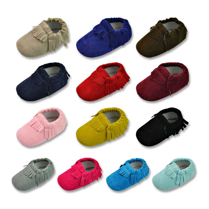 Hot PU Suede Leather Newborn Baby Boy Girl Baby Moccasins Soft Moccs Shoes Bebe Fringed Soft Soled Non-slip Footwear Crib Shoe