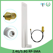 2pcs 2.4GHz 5GHz 5.8Ghz Antenna real 8dBi RP-SMA Dual Band 2.4G 5G 5.8G wifi Antena aerial SMA female +21cm RP-SMA Pigtail Cable aomway fpv 12dbi 5 8g helical antenna sma rp sma