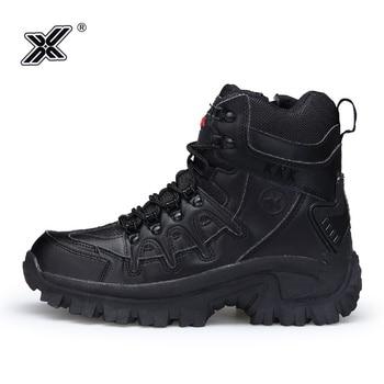 Botas de trabajo clásicas de cuero genuino para hombre, zapatos de seguridad militares, informales, con plataforma alta, para invierno