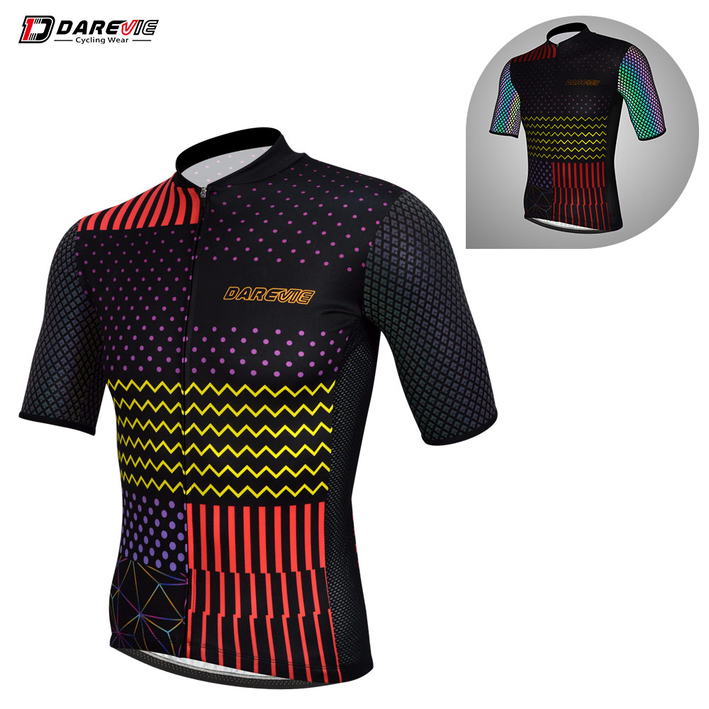 Darevie Pro Cycling Jersey Cool Reflective Cycling Jersey Breathable Team Bike Jersey MTB Road Cycling Clothing Top Jersey Men