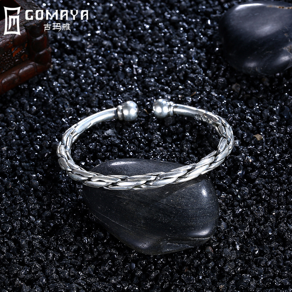 GOMAYA Bangle 999 Sterling Silver Luxury Designer Xmas Gift for Women Cuff Bracelets Antique Fine Jewelry Wristband Chain in Bracelets Bangles from Jewelry Accessories