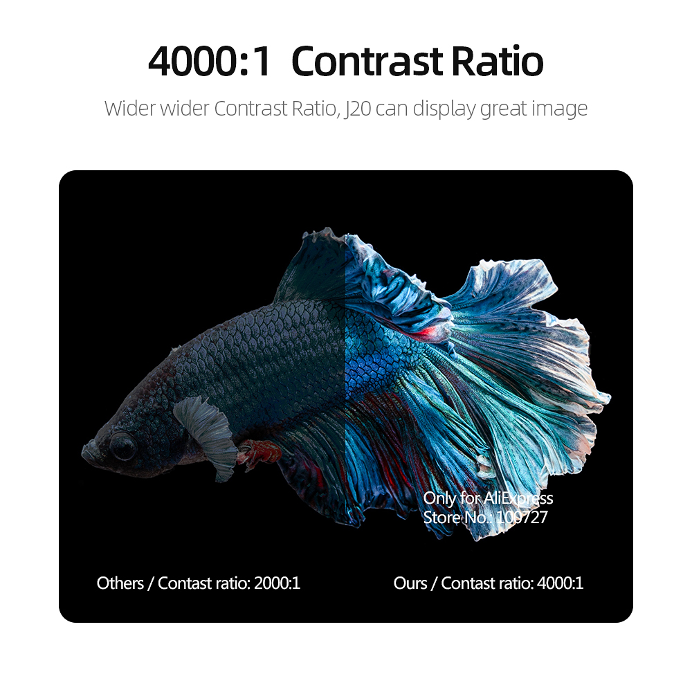 VIVIBRIGHT Full HD Projector J20, 1920*1080P, Android WIFI, 18000mAH Battery, Portable DLP Projector. Support 4K 3D Beamer 4