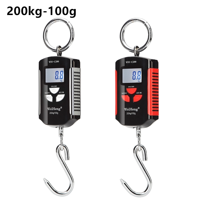 Portable <font><b>200kg</b></font>/100g Mini Crane <font><b>Scale</b></font> <font><b>Digital</b></font> Stainless Steel Hook Hanging Livestock <font><b>Scales</b></font> LCD Heavy Duty Weight Balance image