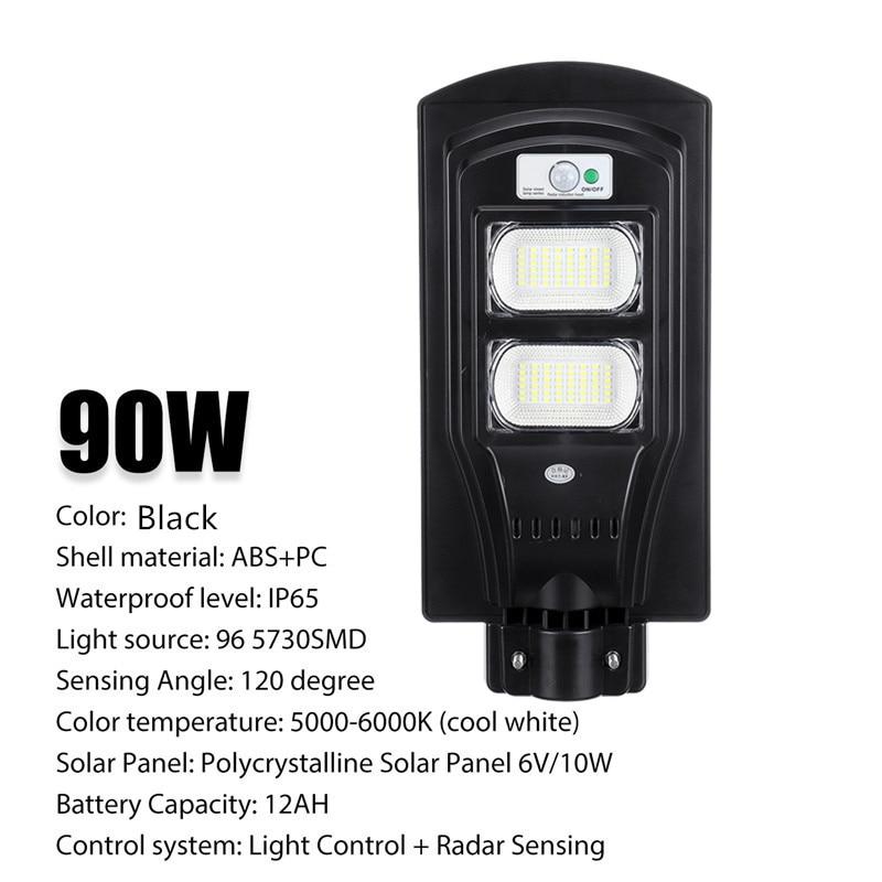 90W LED Solar Straße Licht PIR Motion Sensor Control Wasserdichte IP65 Outdoor Beleuchtung Radar Sensing Garten Wand Lampe