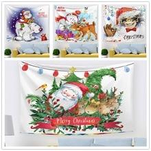 16 Designs Colorful Christmas Tapestry Santa Deer Snowman Wall Hanging Pattern Wall Decor Picnic Blanket Sofa Cover  Backdrop