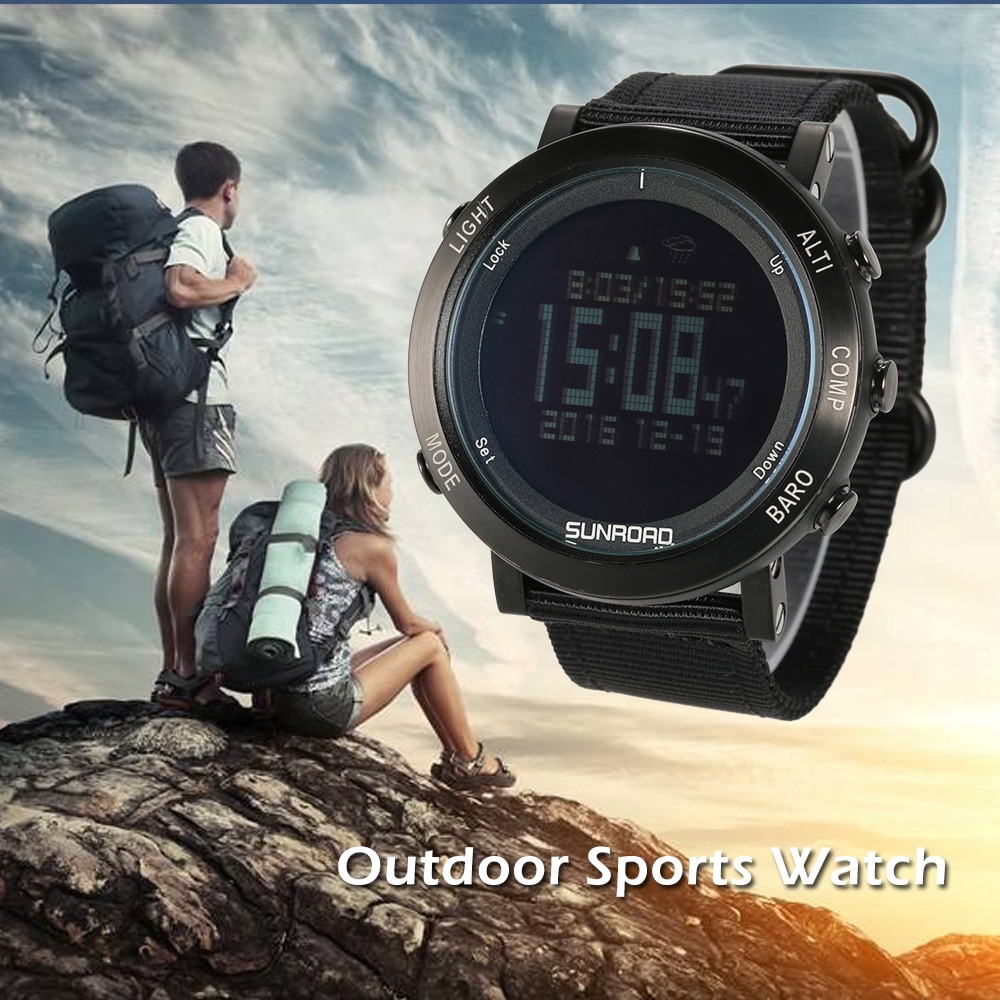 SUNROAD montre de sport numérique en plein air podomètre altimètre baromètre boussole montre-bracelet avec bande de Nylon équipements de Fitness