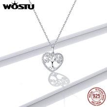 WOSTU Silver 925 Jewelry Necklace 100% Sterling Silver 925 Tree Pendant Luxury Woman Silver Necklace Fine Jewelry [meibapj] 925 silver 100