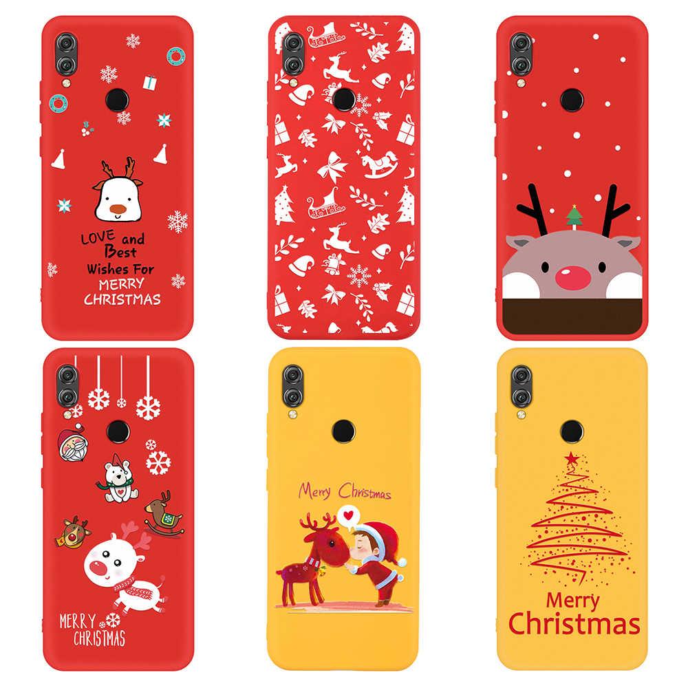 Quà Silicon Mềm Mại Cover Dành Cho Huawei Honor 8X9X10 20 P20 P30 Lite bao Da ốp lưng Cặp Đôi Vỏ Santa nai sừng tấm Hình Hoạt Hình