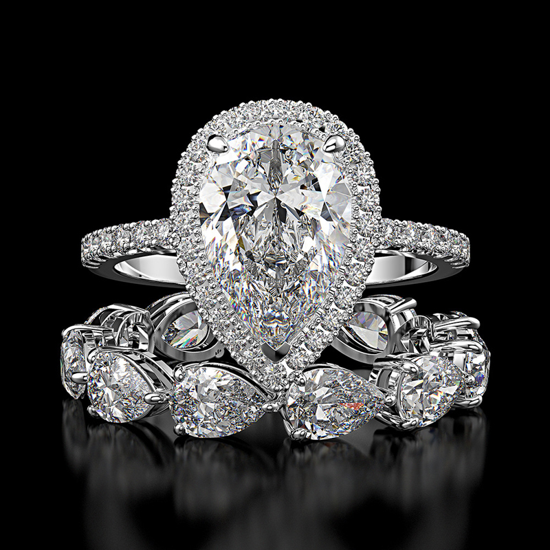 OEVAS Luxury 100% 925 Sterling Silver Created Moissanite Gemstone Engagement Ring Sets Wedding Band Fine Jewelry Wholesale