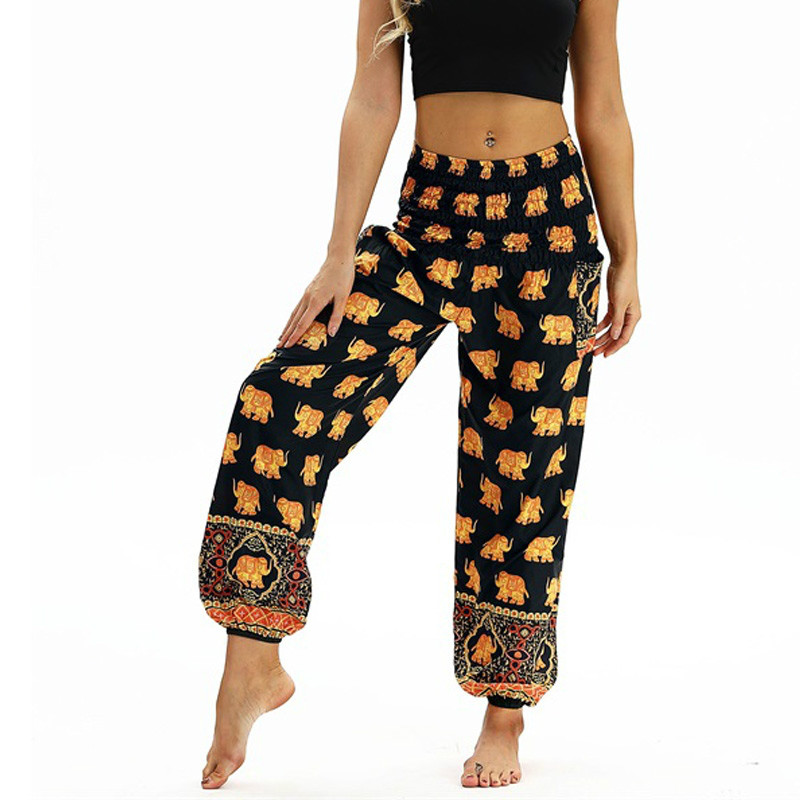 women/'s coral loose fit colourful mandala print yoga festival stretchy trousers