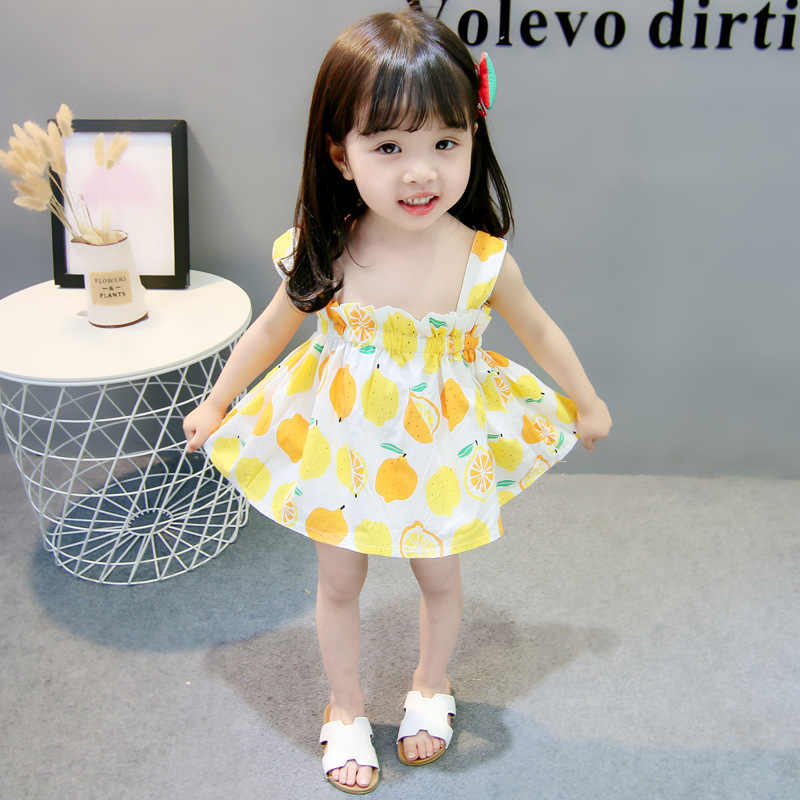 Новые милые летние платья принцессы с фруктовым лимоном для маленьких девочек повседневная одежда с шапкой летнее платье для девочек