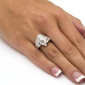 Классическое роскошное овальное Золотое кольцо белого цвета с фианитами, предложение для свадьбы, Женские Ювелирные украшения, подарок, мо...