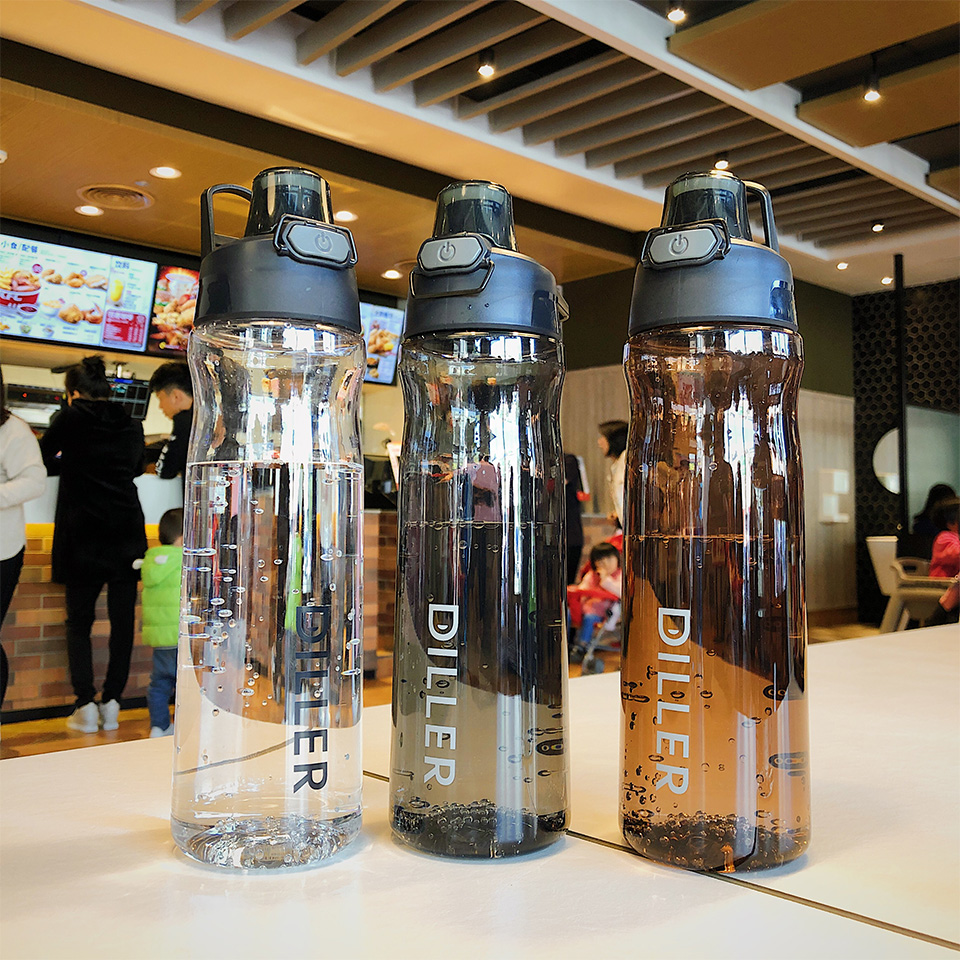 H3ff6a31df46f41f4b3acc9022a8b8a69V DILLER Water Bottle Popular Gray Men Outdoor Sport Travel My Drink Bottle Portable Leakproof Plastic Milk fruit gym Bottles