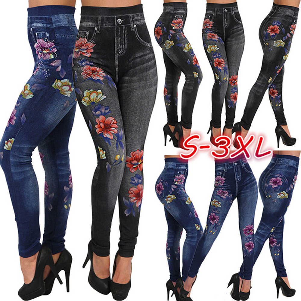 Kadın tayt baskı kalem pantolon sonbahar ve kış rahat yeni elastik moda yüksek bel sahte kot tayt artı boyutu 3XL