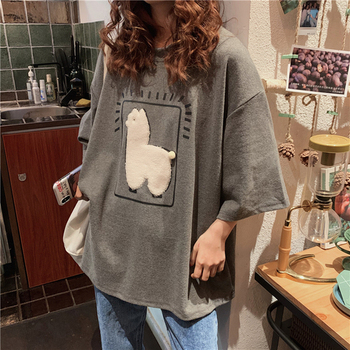 Cartoon Alpaca Animal Printed Casual Loose Oversize Korean Style 2021 Summer Short Sleeve Women Top Female T-shirts image