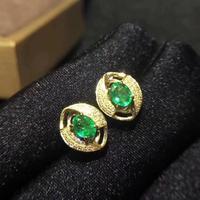 new green emerald gemstone earrings for beauty silver fine jewelry natural gem stud earring girl women party birthday gift