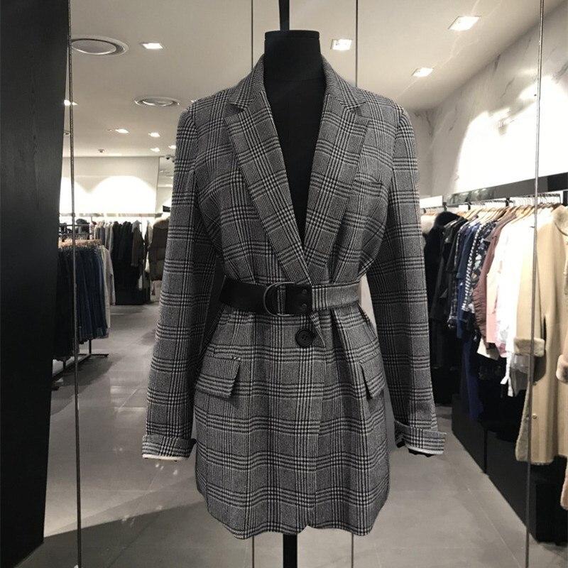 Femmes rétro col rabattu Blazers à carreaux 2019 automne treillis ceinture poches costume manteau Outwear veste ample